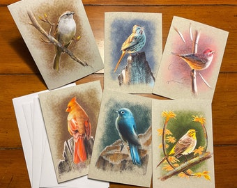 """Illustrated Bird Greeting Cards Set of 6, Blank Inside, All-Occasion, 5x7"""" A7/Lee"""