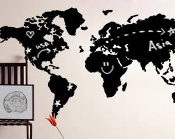 Blackboard world map etsy world map chalkboard vinyl wall decal gumiabroncs Image collections