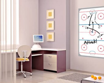 Ice Hockey Rink Dry Erase Removable Wall Decal