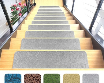 Designer Indoor Stair Mats, Ultra Thin Microfiber Stair Carpet With  Slip Resistant Rubber Backing  (9u201dx26u201d, Gray, Set Of 7)