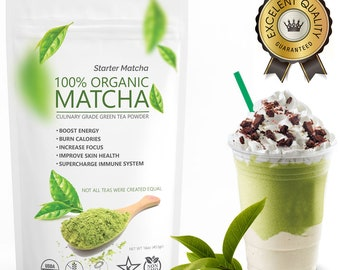 Starter Matcha (16oz/453g)- USDA Organic, Non-GMO Certified, Vegan and Gluten-Free. Pure Matcha Green Tea Powder. 1-3 Day Free USA Shipping