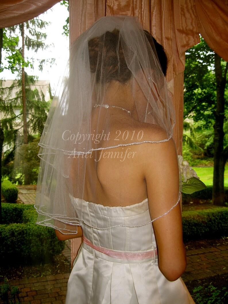 Two Tier Wedding Veil Beaded Veil  Elbow Length image 0