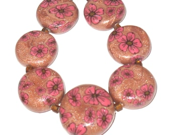 Cherry Blossom Coin Beads, Copper with Pink Sakura Graduated Coin Beads Handmade Polymer Clay