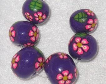 Pink Sakura on Purple Round Handmade Beads, Handmade Polymer Clay Millefiore Beads