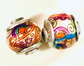 Pair of Large Silver Capped Doodle Beads