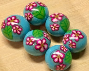 Light Blue with Pink Flowers  Polymer Clay Lentil Beads, Handmade Floral Polymer clay Beads