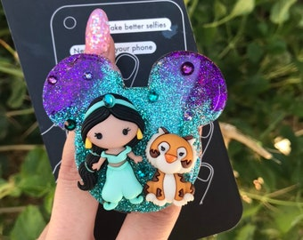Jasmine and Rajah Inspired Mickey Head Phone socket   Aladdin Inspired Phone grips