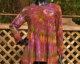 Fall Flame - Tie Dye Long Sleeve Tunic Top Shirt, Hippie clothes, Festival wear, Bohemian, plus size Bitcoin Accepted,