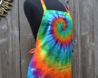 Tie Dye Apron, Cooks Apron, Artist's Apron, Chefs Apron, Organic Cotton, Fair Trade,