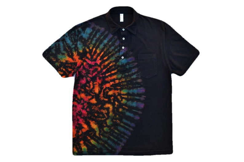 8b16fd2d3ea7 Tie Dye Polo with Pocket Tie-Dye Men s Golf Shirt Hippie