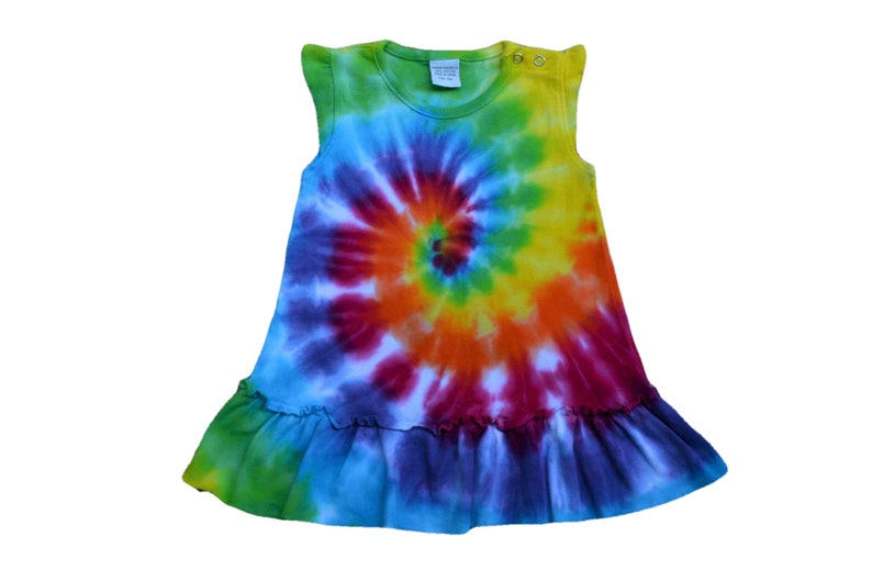 ae37bbe73887 Rainbow Tie Dye Baby Dress Colorful Infant clothing New Born   Etsy