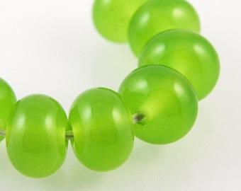 Ectoplasm Green Lampwork Beads, Handmade Glass Spacers