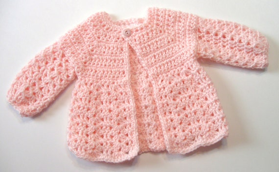 Crochet Pattern Baby Sweater Perfect For Girls Omas Etsy