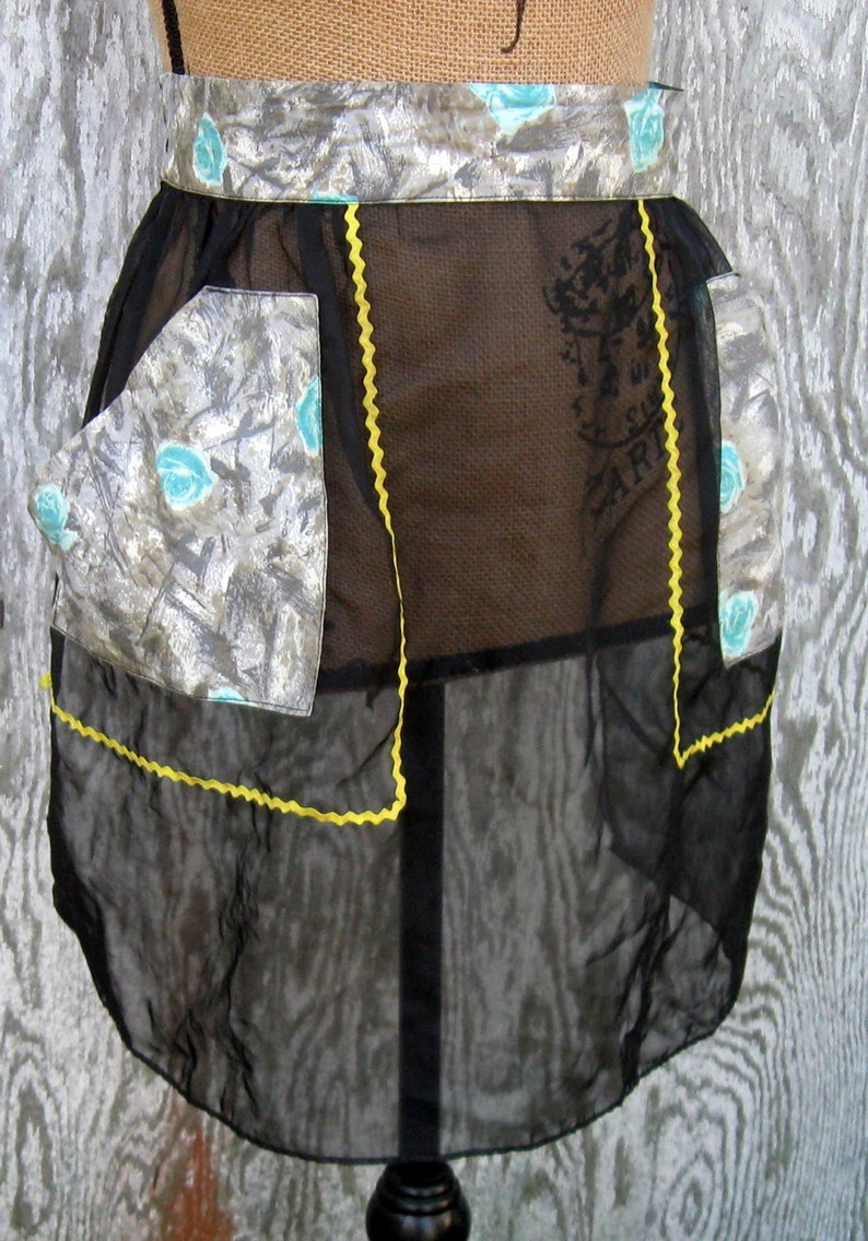 by NormasTreasures on Etsy Blue Roses Black Sheer  Vintage Apron,Half Apron Boho