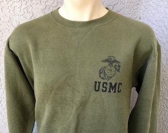 c6f1cc01a2d USMC Marines 1990s vintage olive green sweatshirt - size medium L