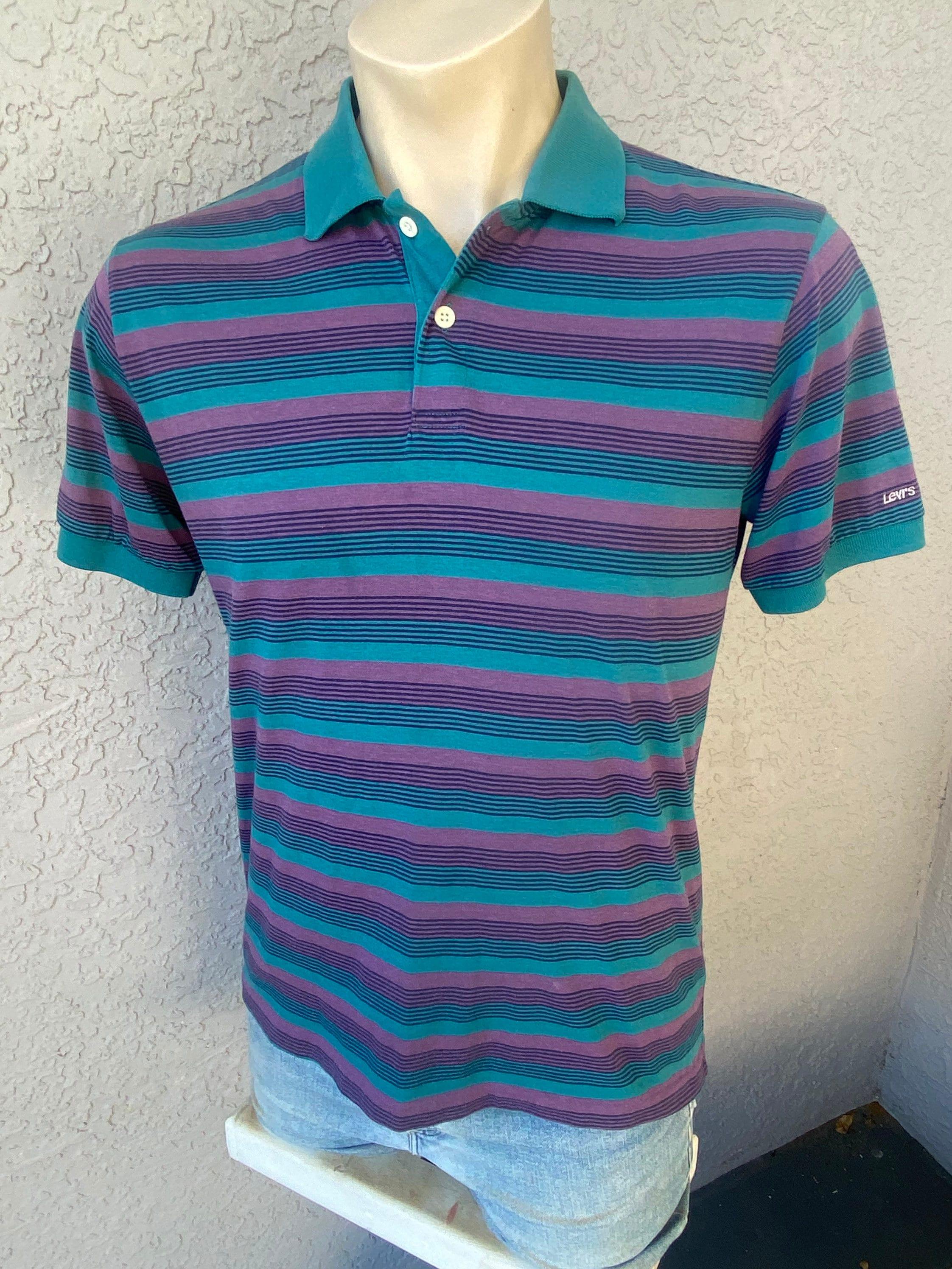 80s Tops, Shirts, T-shirts, Blouse   90s T-shirts Levis 1980S Striped Vintage Polo - Size Large $20.00 AT vintagedancer.com