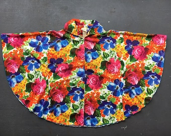 Vintage 1970s vibrant floral shawl poncho cover-up