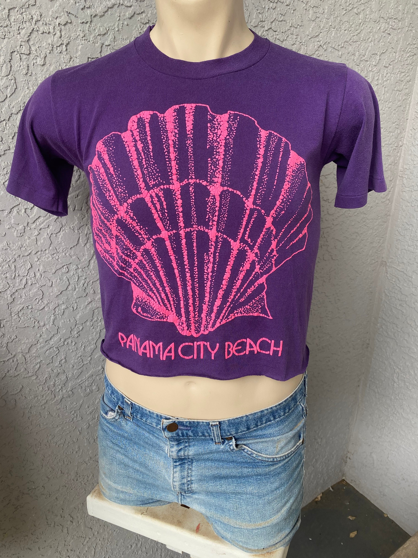 80s Tops, Shirts, T-shirts, Blouse   90s T-shirts Panama City Beach 1980S Cropped Vintage Tee Shirt - Purple Clam Shell Size Medium $25.00 AT vintagedancer.com