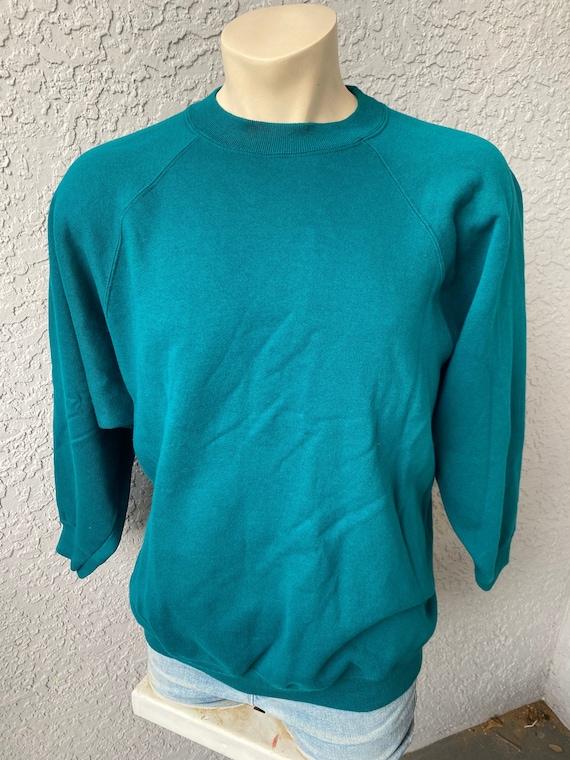 Vintage 1990s soft blank teal sweatshirt - oversiz