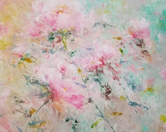 original oil and cold wax painting flowers flower floral petals stems still life impressionism garden nature inspired art home decor unique