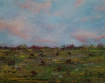 original oil painting cows landscape cow cattle farm country clouds field animals animal small canvas wall art home decor gift nature unique