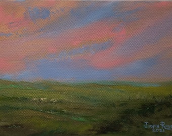 oil painting landscape original impressionist clouds green grass valley vista sky summer field country countryside canvas art landscapes USA