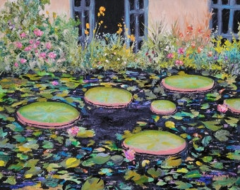 original oil painting landscape lily pads garden flowers pond koi nature beauty greenery peaceful canvas artwork wall art decor home living
