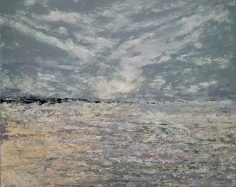 cold wax oil painting coastal beach landscape seascape clouds sea ocean sand shore rocks home decor wall art paintings unique calm water USA