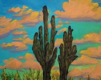 original oil painting desert landscape cactus saguaro Arizona southwest southwestern clouds colorful unique sky wall art home decor nature