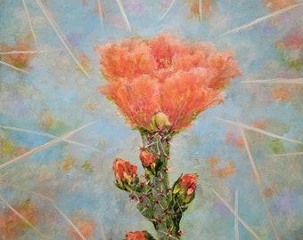 original oil painting cactus flower desert southwest southwestern colorful floral flowers Arizona canvas wall art home decor nature thorns