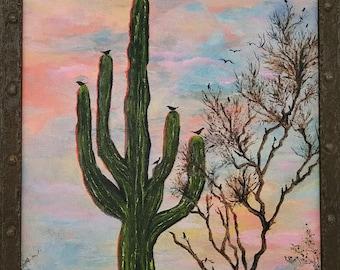 original oil painting desert cactus landscape birds southwest saguaro southwestern western sunset framed canvas wall art home decor living