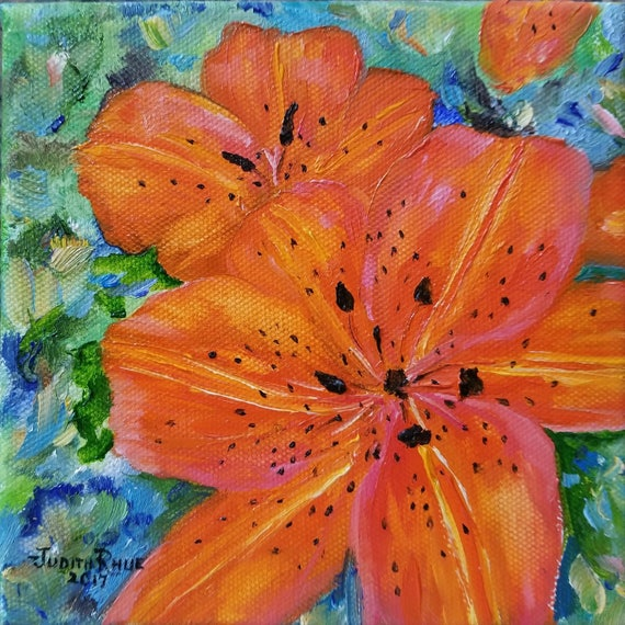 Original Oil Painting Tiger Lily Flower Tropical Oil Etsy