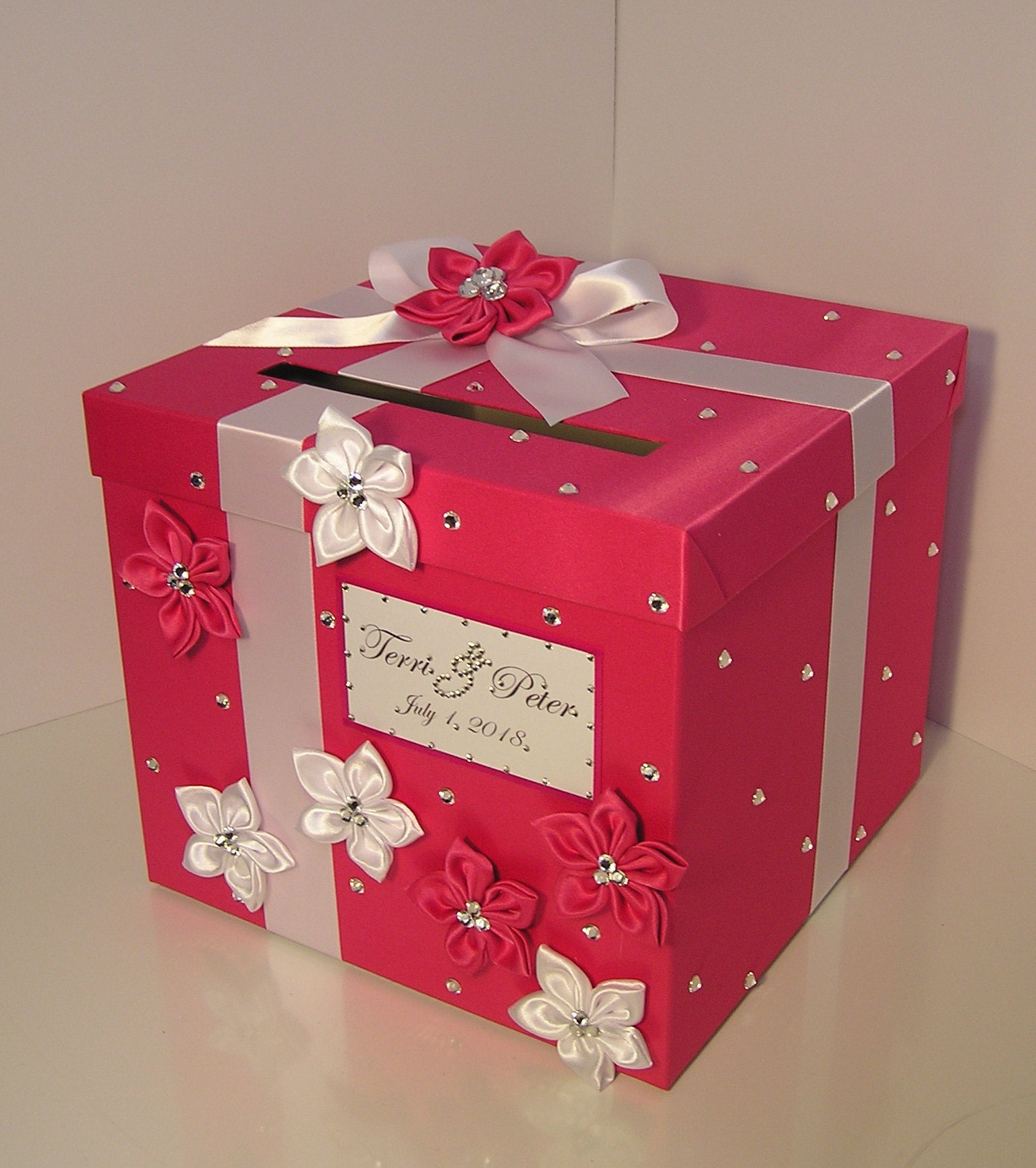 Gift Card Boxes For Weddings: Wedding Card Box Hot Pink And White Gift Card Box Money