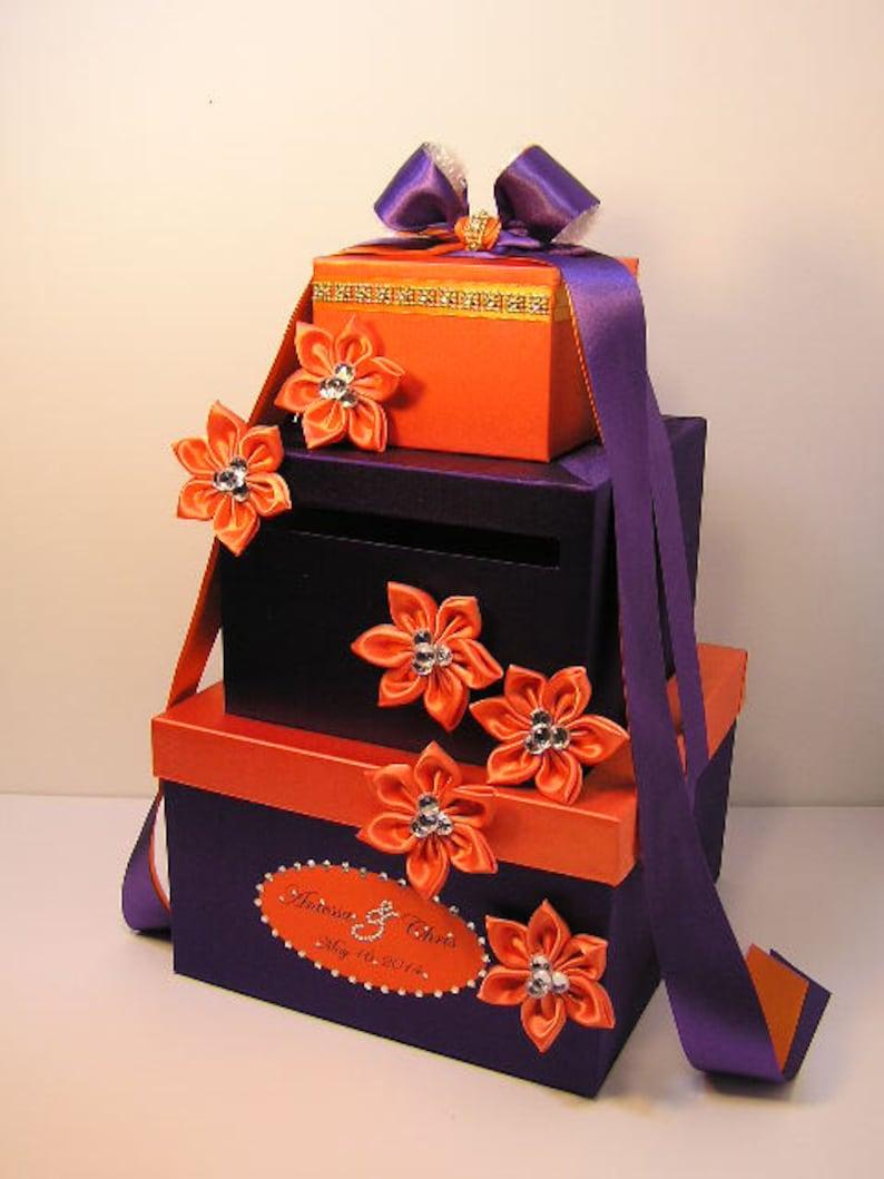 Wedding Card Box Purple And Orange Gift Card Box Money Box Holder Customize Your Color
