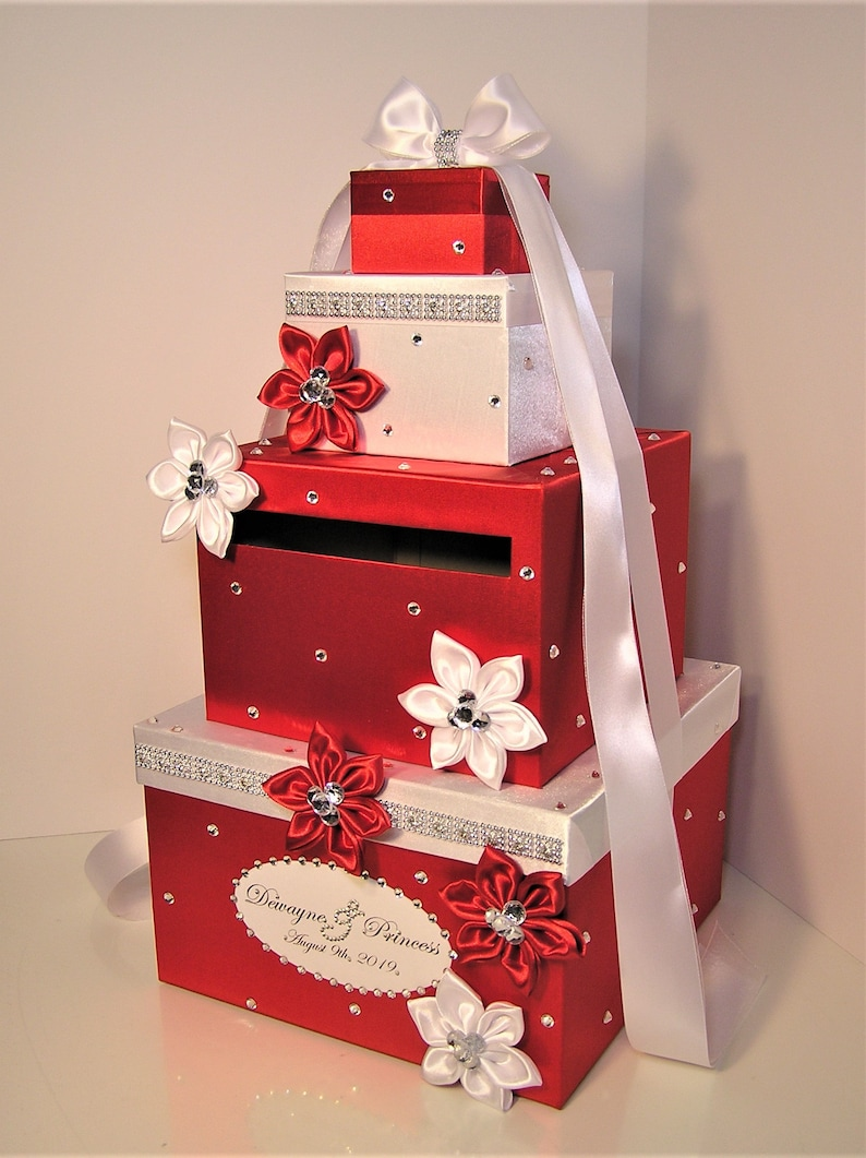 Wedding Card Box Red And White Gift Card Box Money Box Holder Customize Your Color