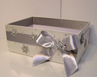 Winter Wedding  Snowflake Program Box Silver Amenities Box Bathroom Accessories Box handkerchiefs Box - Customize your color