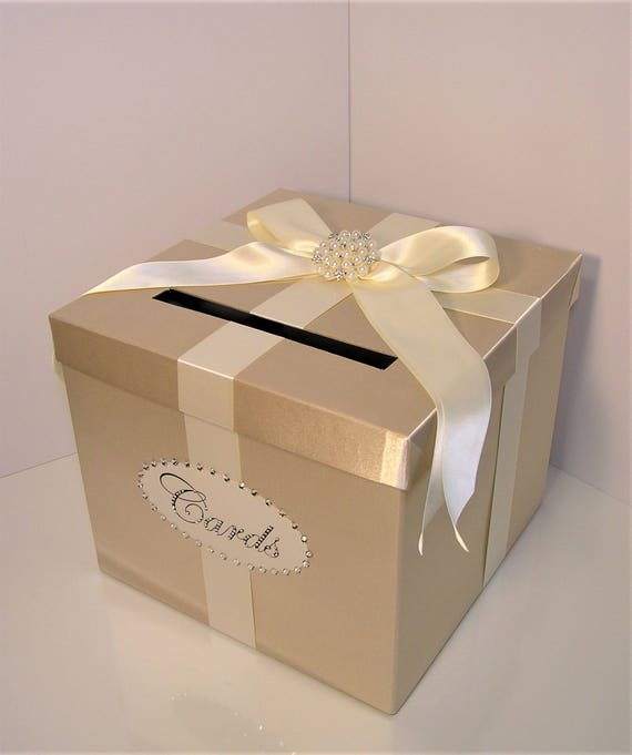 Wedding Card Box Champagne And Ivory Gift Card Box Money Box Holder Customize Your Color Made To Order 10x10x9