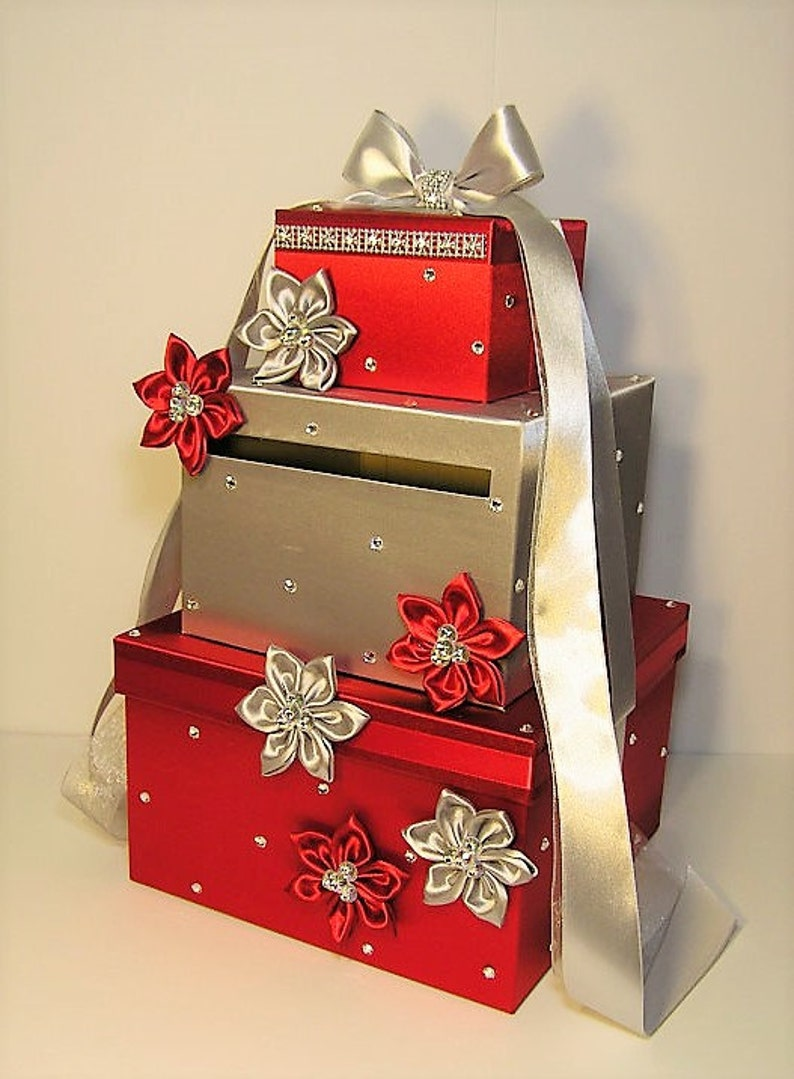 Wedding Card Box Red And Silver Gift Card Box Money Box Holder Custom Order Customize Your Color