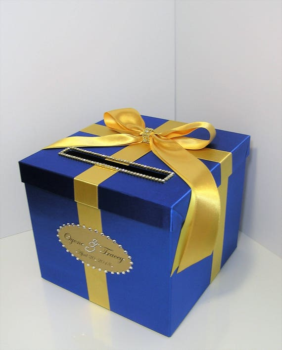 Wedding Quinceanera Sweet 16 Card Box Gold And Royal Blue Gift Card Box Money Box Holder Customize Your Color