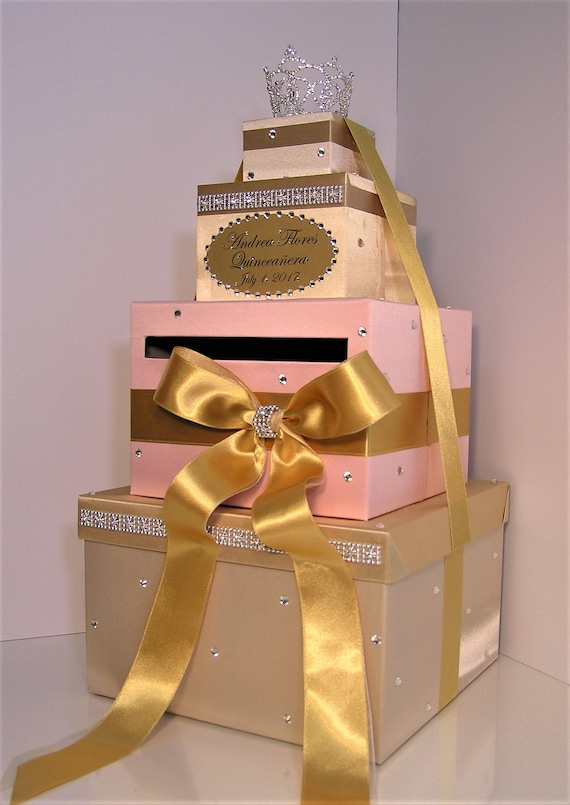 Quinceanera Sweet 16 Birthday Wedding Card Box Gold And Blush Pink