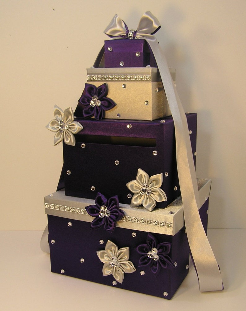 Wedding Card Box Silver And Purple Gift Card Box Money Box Holder Customize Your Color
