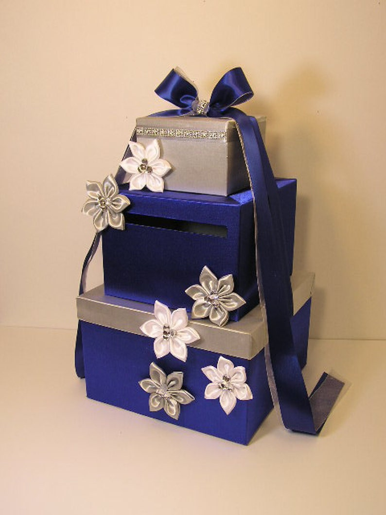 Wedding Card Box Royal Blue And Silver White Gift Card Box Money Box Holder Purple And Silver Or Customize Your Color