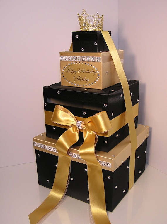 Quinceanera Sweet 16 Birthday Wedding Card Box Black And Gold Gift Card Box Money Box Holder Customize In Your Color Custom Made