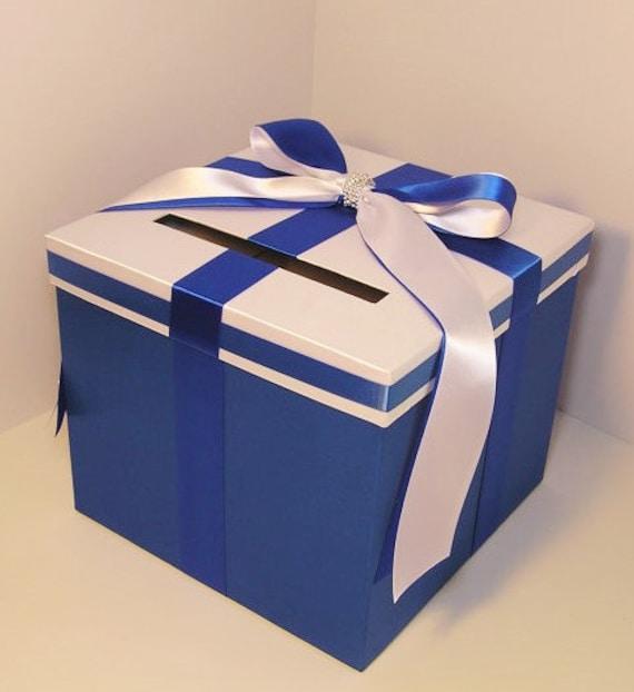 Royal Wedding Gifts: Wedding Card Box Royal Blue And White Gift Card Box Money