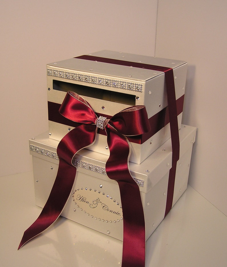 Wedding Card Box Ivory And Burgundy Gift Card Box Money Box Holder Sweet 16 Customize Your Color