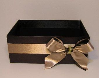 Wedding  Program Box Amenities Box Bathroom Accessories Box handkerchiefs Box Choco Brown and Champagne - Customize your color