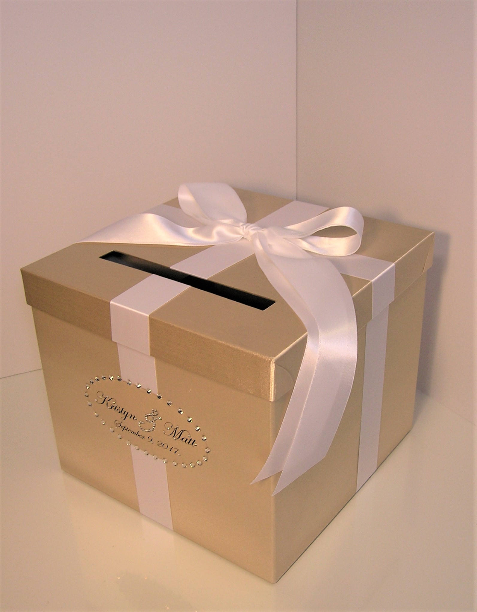 Wedding Card Box Champagne and White Gift Card Box Money Box