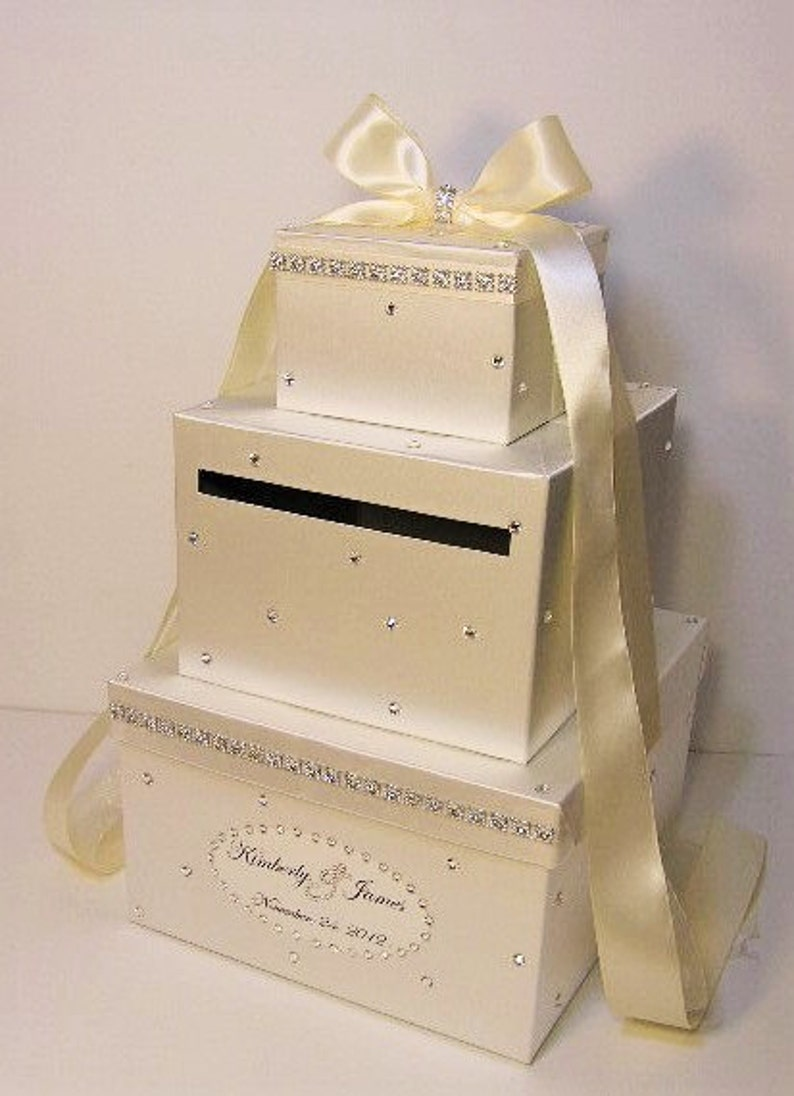 Wedding Card Box Ivory Gift Card Box Money Box Holder Customize Your Color