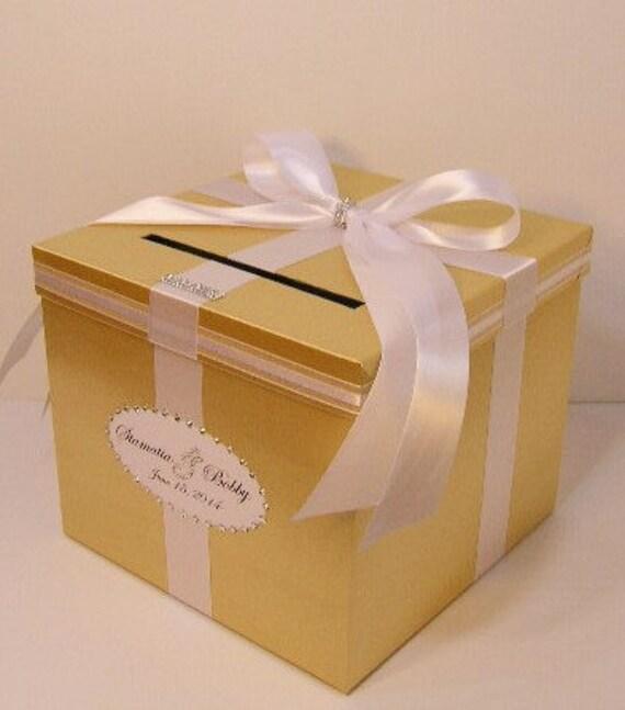 Wedding Card Box Gift: Wedding Card Box Gold And Light Pink Gift Card Box Money
