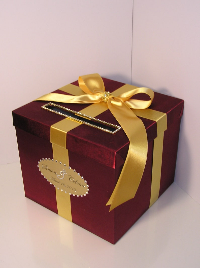 Wedding Quinceanera Sweet 16 Card Box Burgundy And Gold Gift Card Box Money Box Holder Customize Your Color